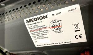 Etiqueta que muestra la potencia del microondas